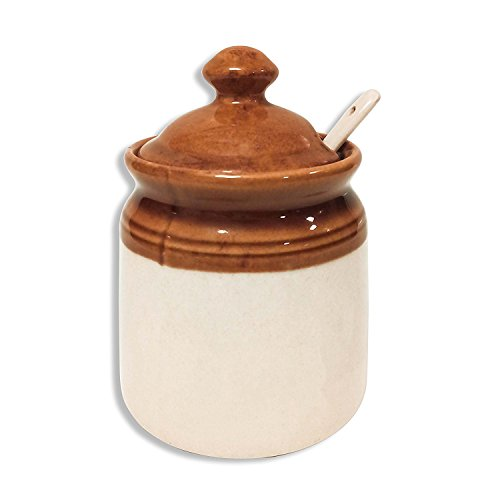 - MC SID RAZZ - Old Fashioned Ceramic Jar for dinning table - Pickle (Achar) Rakhi Gift Holder/Spice box Rack Holder/Masala Container/Chutney Holder/Jam, Dip, Salsa & Ketchup Container (Ceramic Jar)