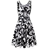 Vibola Dress for Women, Summer Sleeveless Floral Printing Beach Dress (S, Black)