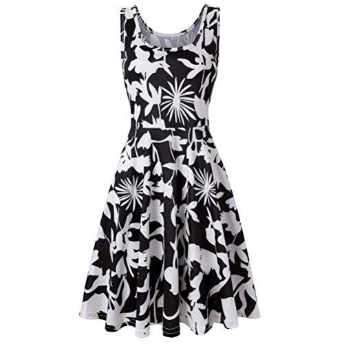 Vibola Dress for Women, Summer Sleeveless Floral Printing Beach Dress (S, Black) by Vibola (Image #1)