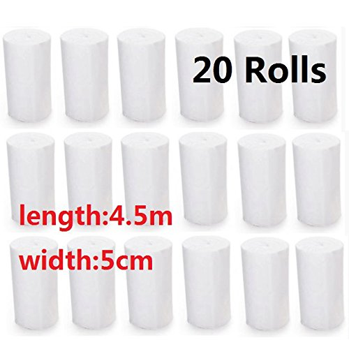EatingBitiing(R)FDA 20 Rolls 2 inch x 4.92 Yards Stretched Gauze Bandage Rolls with Medical Tape/Rolled Stretch Bandage/Medical Grade Sterile First Aid Wound Care Cotton Ply use Ankles Knees ECT]()