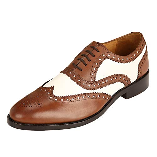 Brown Imported - DLT Men's Genuine Imported Leather with Leather Sole English Goodyear Welted Oxford Dress Shoes 13 Brown & White