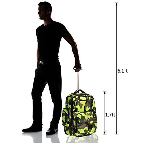 20 inches Big Storage Waterproof Wheeled Rolling Backpack Travel Luggage for Boys Students School Books Laptop Bag, Green Camouflage by HollyHOME (Image #2)