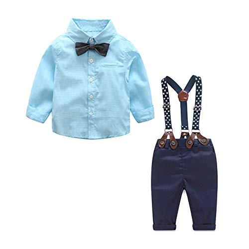 Newborn Baby Boys Gentleman Outfits Suits, Infant Long Sleeve Shirt with Bow Tie+Suspender Pants Toddler 4Pcs Set (Blue, 90/12-18Months)