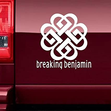 Breaking benjamin logo with band name 6 white vinyl car truck decal sticker cool bands
