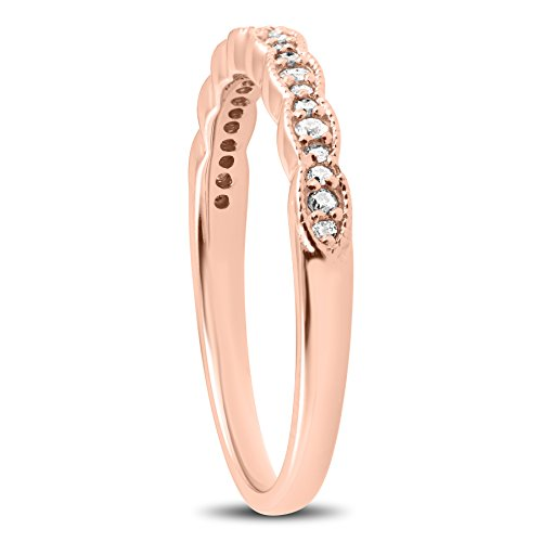 1/5 cttw Diamond Stackable Womens Wedding Ring 14k Rose Gold