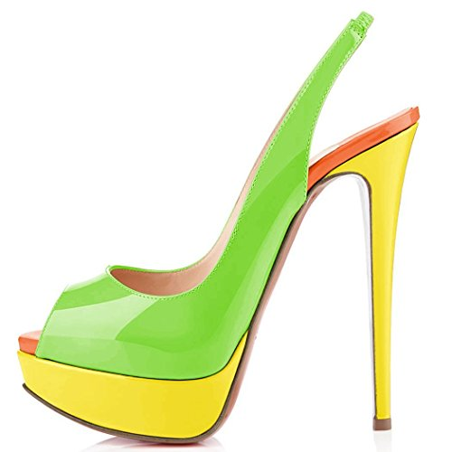 Strap Womens Green Toe Paltform uBeauty Sandals Slingback Pumps Peep Ankle Shoes Court Dress Heel High Platform BWSSOdZAq