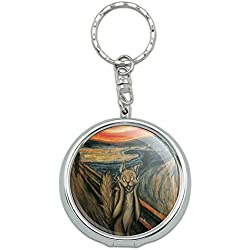 Graphics and More Portable Travel Size Pocket Purse Ashtray Keychain Art Paintings - The Scream Cat Parody Edvard Munch