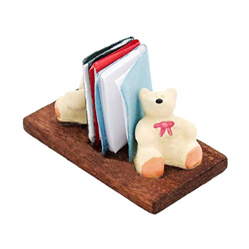 Odoria 1:12 Miniature Desk Book Shelf with Books and Bear Bookend Dollhouse Decoration Accessories from Odoria