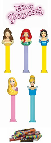 (PEZ Disney Princess Dispenser and Candy Set (6 Items) - Snow White, Cinderella, Rapunzel, Belle, and Ariel Dispensers along with a 24 Roll Candy Refill Set)
