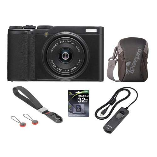 Fujifilm X-F10 Digital Camera with 18.5mm Wide Angle Lens, Black - Bundle with Camera Case, 32GB SDHC Memory Card, RR-90 Remote Release, Peak Camera Cuff Wrist Strap, Charcoal