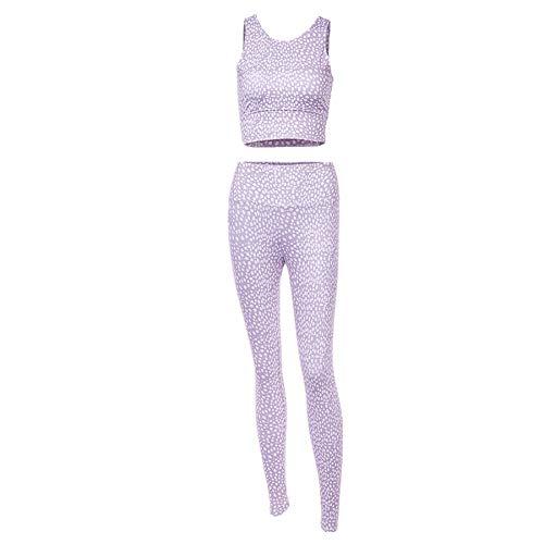 Women 2 Two Pieces Set Gym Yoga Cloth Sports Crop Tank Top High Waist Leggings Workout Suit White