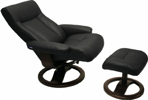 ScanSit 110 Black Leather Recliner Norwegian Ergonomic Scandinavian Lounge Reclining Chair 110 ScanSit Large Recliner Furniture Walnut Wood by Hjellegjerde Review