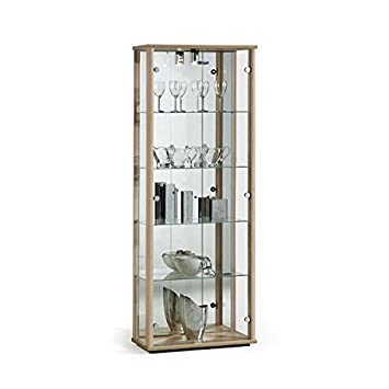 Oak Wood Lockable Glass Display Cabinet with Lighting - 670mm ...