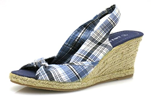 Femmes Ibiza Espandrilles Sandales Bleu Chaussures xrrqBTta