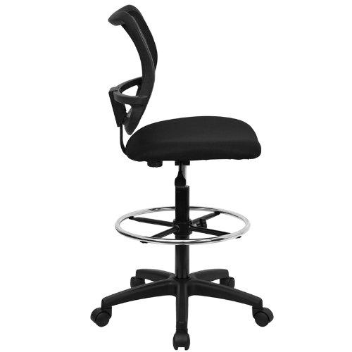StarSun Depot Mid-Back Black Mesh Drafting Chair 22'' W x 22'' D x 40.25'' - 45.25'' H