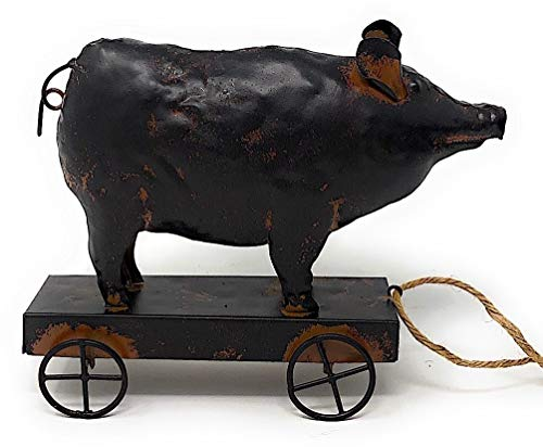 (STC World Standing Metal Figurines Farmhouse Decor Rustic Farm Animal Sculpture on Wheels Indoor Outdoor (Pig))