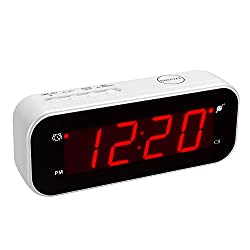 Kwanwa Portable Cordless Battery Operated only Travel Alarm Clock With Temperature and Big 0.9 Red LED Numbers