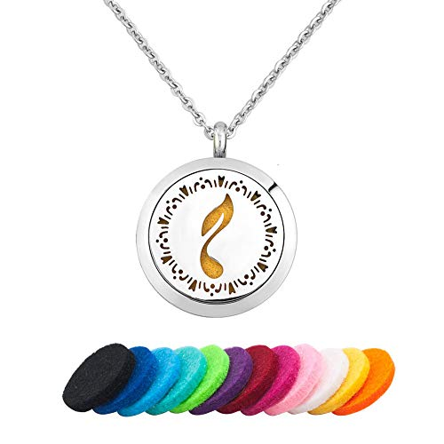 JewelryJo Melody Musical Eighth Note Aromatherapy Essential Oil Diffuser Necklace Locket Perfume Pendant for Women Girls Gift