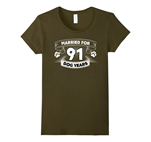 Womens Married For 91 Dog Years 13th Wedding Anniversary Funny Tee Medium Olive