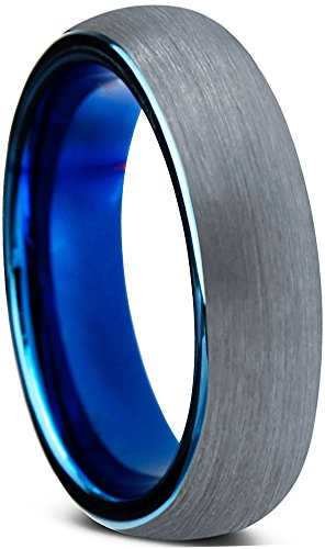 Tungsten Wedding Band Ring 4mm for Men Women Comfort Fit Blue Round Domed Brushed Lifetime Guarantee