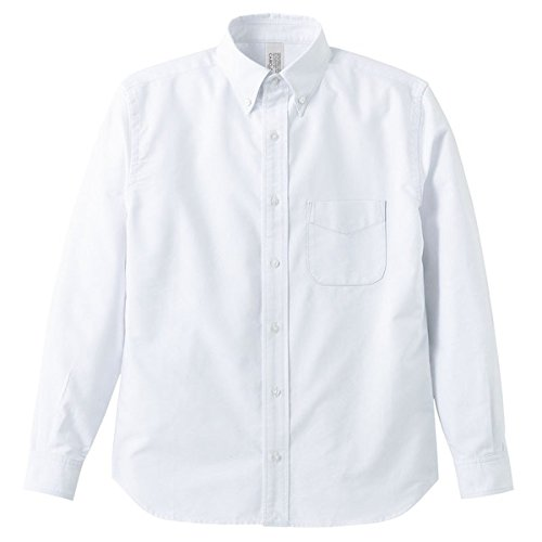 安全高さスプリットオックスフォードボタウンダウンワンウォッシュ長袖シャツ OXホワイト Sサイズ