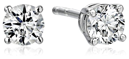IGI-Certified 18k White Gold Round Cut Diamond Stud Earrings (1/3 cttw, H-I Color, SI1-SI2 Clarity)