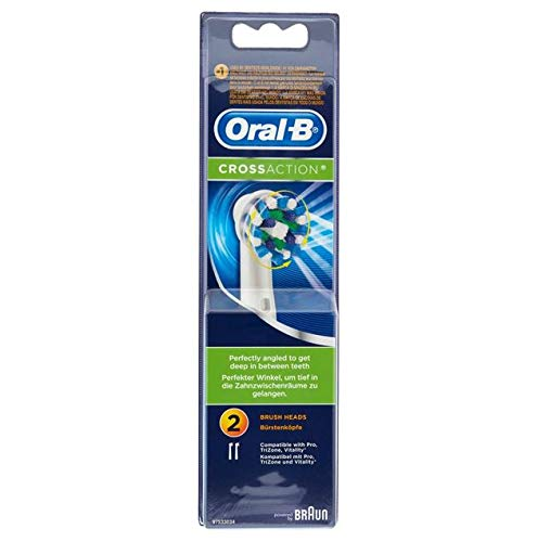 Oral-B CrossAction Electric Toothbrush Replacement Brush Heads Refill, 2ct (Packaging may vary) (Oral B Professional Healthy Clean Precision 1000 Rechargeable)