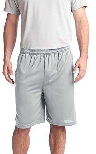 Sport-Tek Mens PosiCharge Tough Mesh Pocket Short, XL, Silver