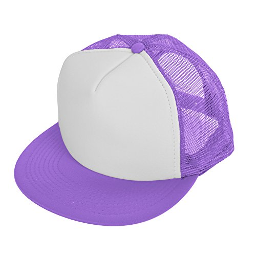 - DALIX Flat Billed Trucker Cap with Mesh Back M L XL Adjustable Hat (in 14 Colors) Caps (Neon-Purple-White)