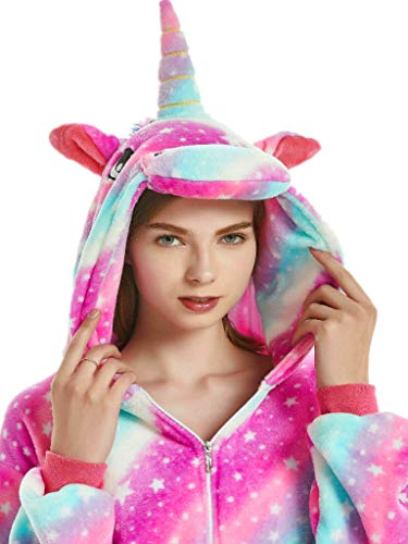 Adult Onesie Unicorn Pajamas for Women Men Teens Girls Animal Halloween Costumes,Star Rainbow Unicorn,L Fit Height 66