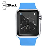 Apple 2pack Watch Screen Protector 38mm (Series 1/Series 2)£¬Amoner Tempered Glass Screen Protector[Anti-scratch] [Bubble-free] for Apple Watch 42mm Clear HD Anti-Bubble Film by Amoner