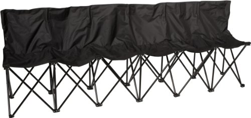 Portable 6-Seater Folding Team Sports Sideline Bench with Back by Trademark Innovations ()