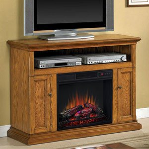 ClassicFlame Cannes Electric Fireplace Media Cabinet in Antique Oak – 23MM378-O103