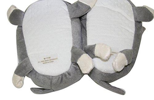 Babysitter Bambino Sherpa Peluche Pelo Di Animale Antiscivolo Pantofole Scarpette Da Interno (slt) (slt-1210) -grigio