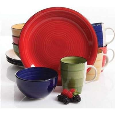 bes 12 pc Dinnerware Set, 4 Assorted Colors ()