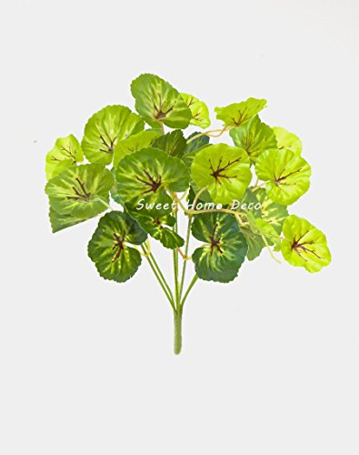 Small Grape Leaf (Sweet Home Deco Water-Resistant Faux Plant Artificial Leaf Bush Small Size Bush DIY Craft Greenery Set of 3 (Sea Grape Leaf Bush) )