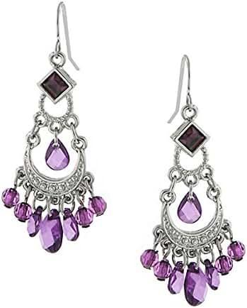 Silver-Tone Amethyst Purple Crystal Chandelier Earrings