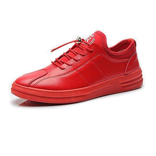Bianca Color Sneakers Scarpe 44 nuevo pelle alte regolabili casual EU antiscivolo sportive piatte Rosso uomo 2018 Dimensione in da Mocassini Shufang shoes PU qwCv4UTw