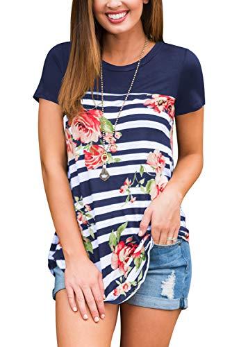 Womens Floral Blouse Plus Size Round Neck Tops Stripe Navy XL
