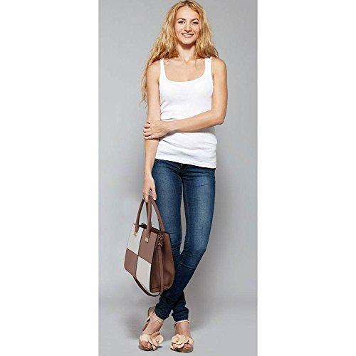 TrendStar Bolso Para Mujer Del Diseñador Bolsos De Las Señoras De Cuero De Imitación 3 Compartimento Totalizador Del Estilo Nueva Celebridad Amplio D - Nude/White