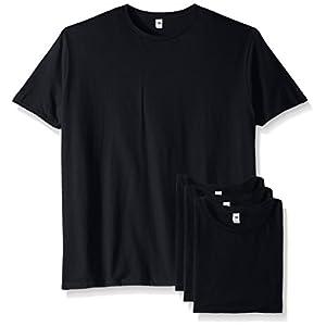 Fruit of the Loom Men's Crew T-Shirt (4 Pack), Black, Large