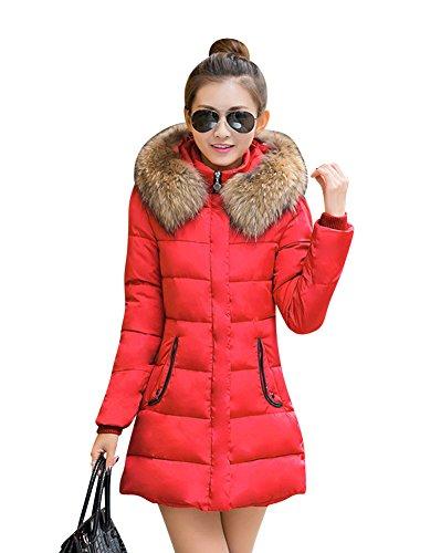 LaoZan Abrigo de invierno Chaqueta anoraks chaqueta Manga larga / Abrigo largo con capucha Para Mujer Rojo