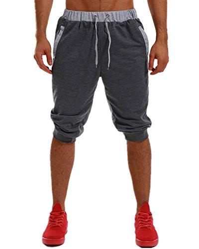 MODCHOK Men's Shorts Pants Running Sweatpants Cotton Joggers Slim Fit Tracksuit Dark Grey XL