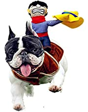 Cowboy Rider Dog Costume, Knight Style with Doll and Hat for Dog and Cat Dress, Funny Pet Clothes