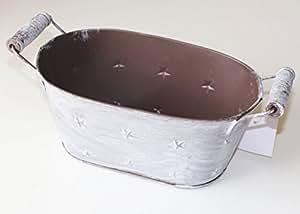 –Maceta con estrellas Zinc Nostalgie gris marrón estrellas Vintage 20X 13X 9Cm Maceta Zinc bañera Macetas Zinc–Cuenco metal ollas para plantas metal metal olla bañera de zinc Navidad Xmas