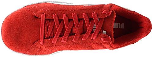 PUMA Men's Smash Suede Lthr Fashion Sneaker, High Risk Red / White, 12 D(M) UK