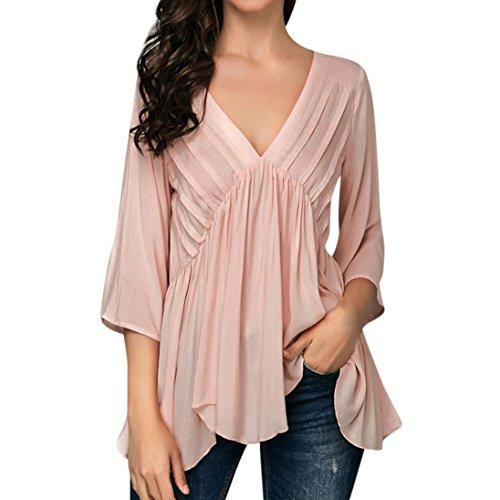 Top Sleeve 1/2 (MODOQO Women Solid 1/2 Sleeved Pleated Ruffled Asymmetric Hem V-Neck Top Blouse)