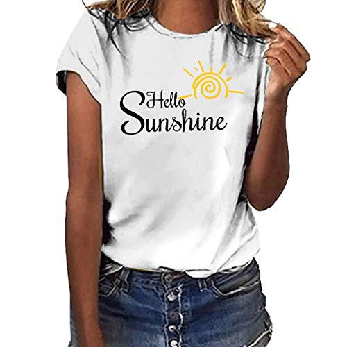 Hireat T-Shirt Women Girls Plus Size Sunshine Print Shirt Short Sleeve T Shirt Blouse Tops Sleeve Button Pocket White