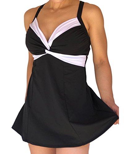 Carol Wior Bra (Carol Wior A14416N Black/White Twist Swimdress Swimsuit with Control (Size 12))