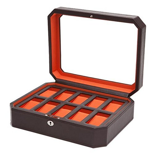 French Provincial Armoire - Unisex WOLF Windsor Ten Piece Watch Box in Brown/Orange Faux Leather